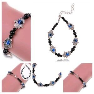 Jewelry - Hamsa Hand Boho Tibetan Silver Bracelet